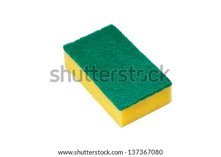 sponge for wash utensil. isolated on white - stock photo