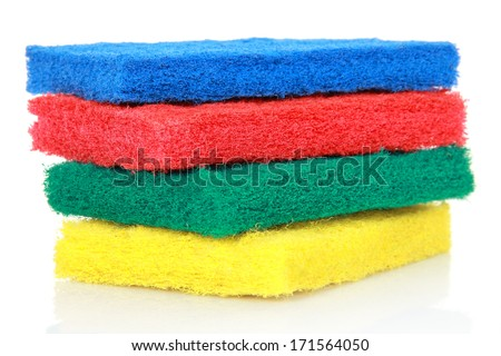 sponge for washing and cleaning equipment isolated on white background - stock photo