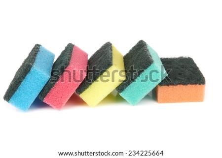sponge for washing dishes isolated on white background  - stock photo