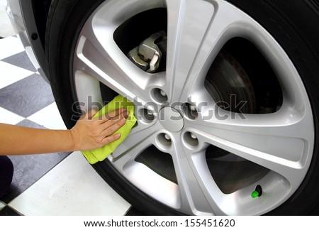 Sponge & microfiber cleaning car wash - stock photo