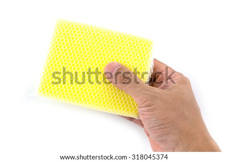 sponge prepair to clean the Kitchen isolated on a white background - stock photo