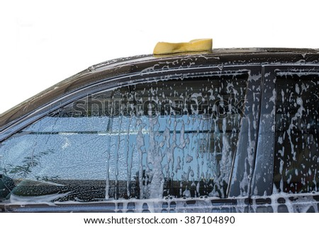 Sponge put on the car for cleaner. - stock photo