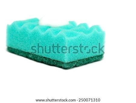 sponge sponge for washing dishes on a white background - stock photo