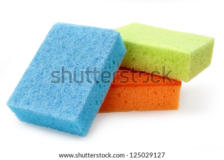 Sponges for cleaning, isolated on white background