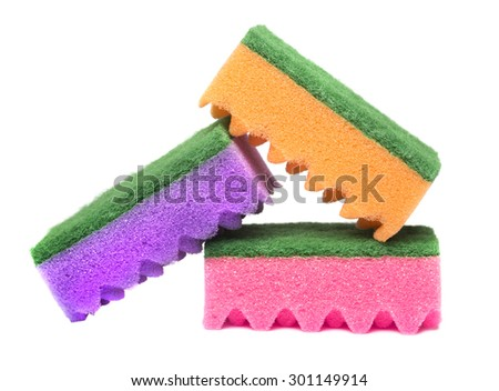 Sponges for washing dishes - stock photo