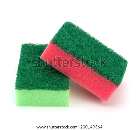sponges group isolated on the white background - stock photo