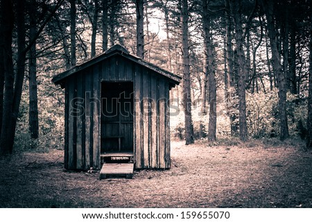 Spooky cabin in a dark and mysterious forest - stock photo