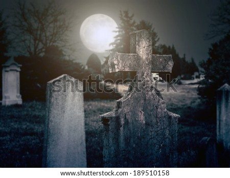 Spooky cemetery night - stock photo
