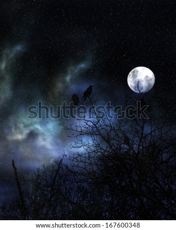 Spooky crows in winter - stock photo