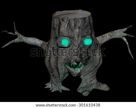 Spooky decomposed stump with glaring green eyes, isolated on black. Rendered 3d halloween design