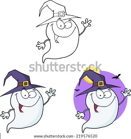 Spooky Ghost Cartoon Mascot Character Series 1. Raster Collection Set - stock photo