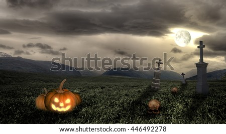 Spooky Halloween graveyard with dark clouds and moon - stock photo