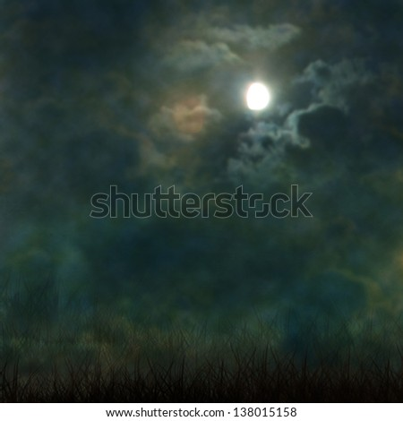 Spooky Halloween graveyard with dark clouds and ominous moon - stock photo