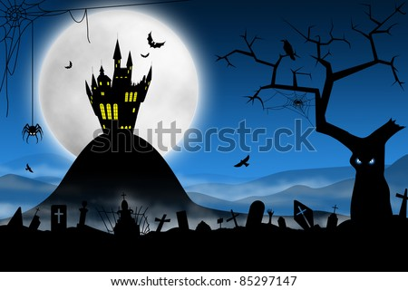 Spooky Halloween night. Foggy cemetery and far haunted castle against moon