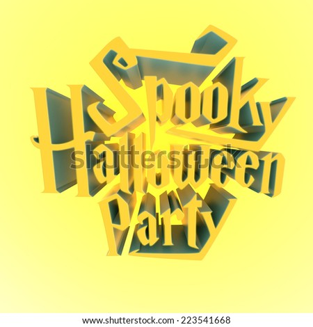 Spooky Halloween Party glowing suny letters 3d for poster template or Ad element on yellow light glowing background - stock photo