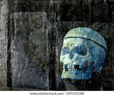 Spooky Halloween Skull and Graveyard Theme - stock photo