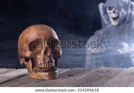 Spooky halloween skull with grim reaper in background - stock photo