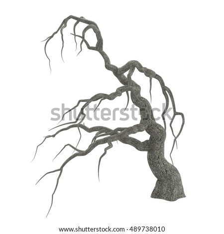 spooky halloween tree long bare branches stock illustration