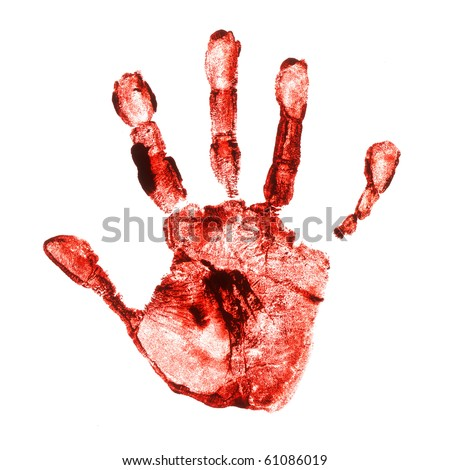 Spooky hand print isolated on white background - stock photo