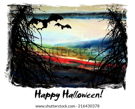 Spooky Happy Halloween Landscape with Bats - stock photo