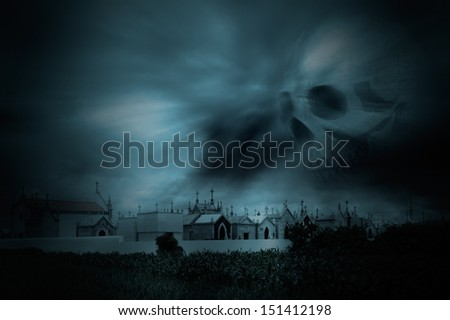 Spooky image with old European cemetery in a dark night with cloudy threatening sky; Good for halloween.