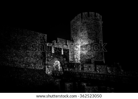 Spooky Kalemegdan fortress, Zindan gate. Belgrade, Serbia - stock photo