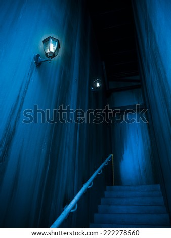 Spooky passage building. Halloween. - stock photo