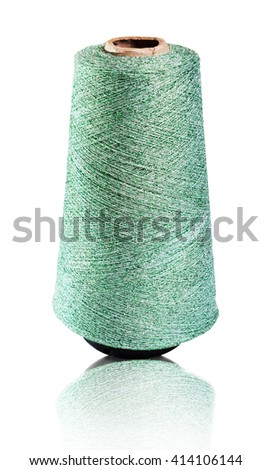 Spool of green shiny thread, isolated with a clipping path.