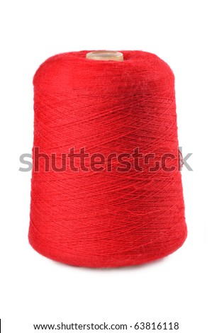 spool of thread for knitting on a white background - stock photo