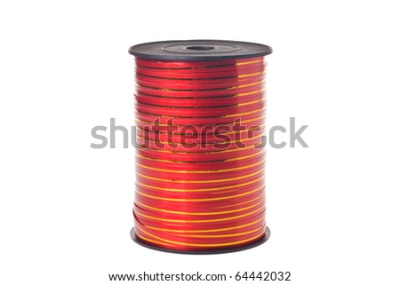 Spool with decorative red ribbon on white background