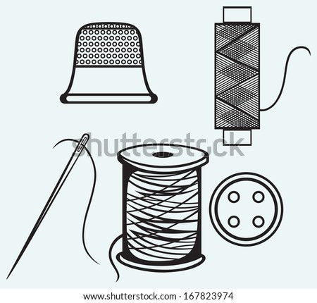 Spool with threads, sewing button and thimble isolated on blue background. Raster version - stock photo