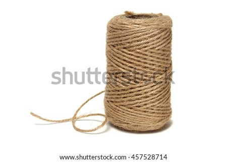 Spool with twine isolated on white background - stock photo