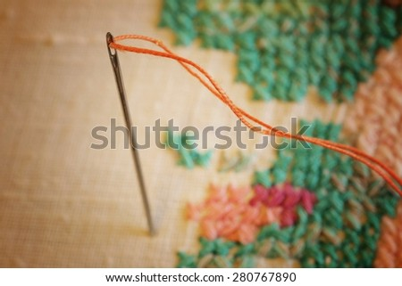 spools of thread embroidery - stock photo