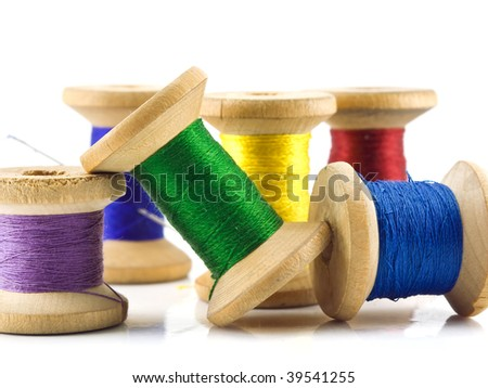 Spools of thread isolated on a white background