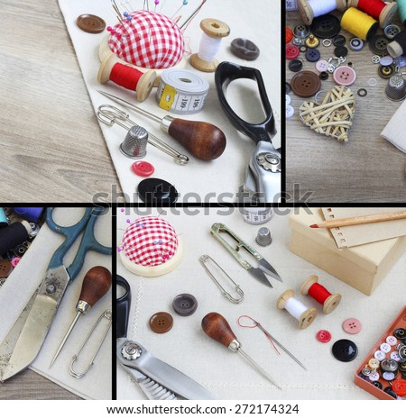 Spools of threads buttons needle for sewing - stock photo