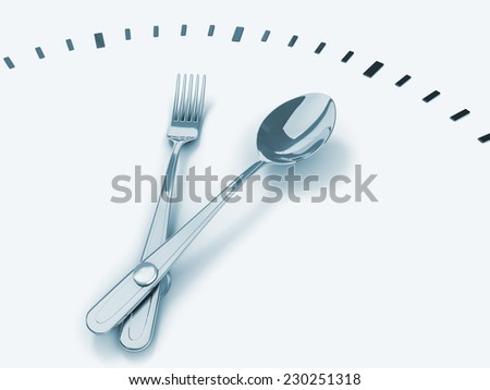 Spoon and fork as the clock