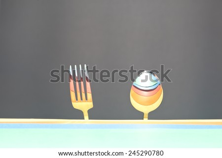spoon and fork,retro style - stock photo