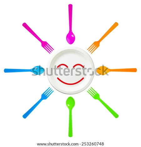 Spoon and fork surround Smile Disposable dish on isolate white background. - stock photo