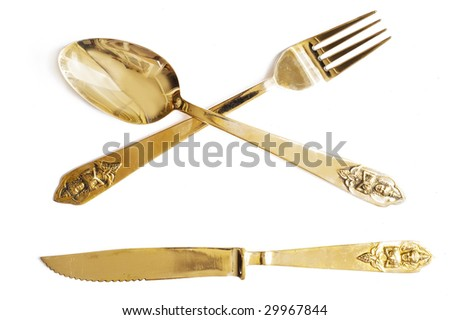 spoon and  fork with oriental ornament