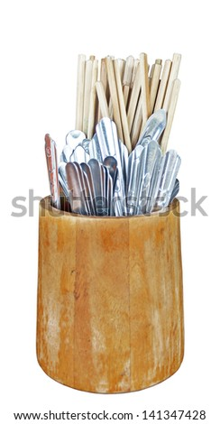 Spoon, fork and a chopsticks. It is isolated on a white background - stock photo