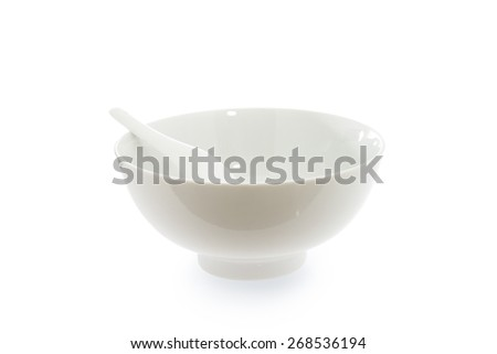 spoon in  empty bowl isolated on  white background