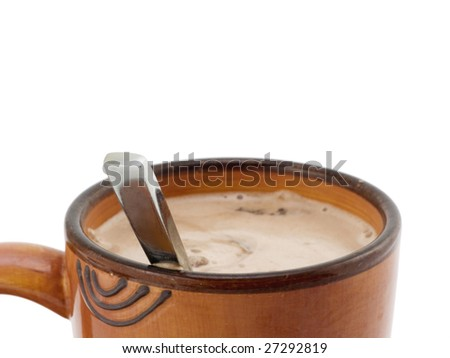Spoon in Hot Chocolate on a white background