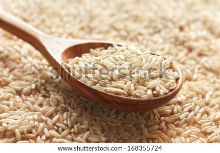 Spoon of brown rice close up - stock photo