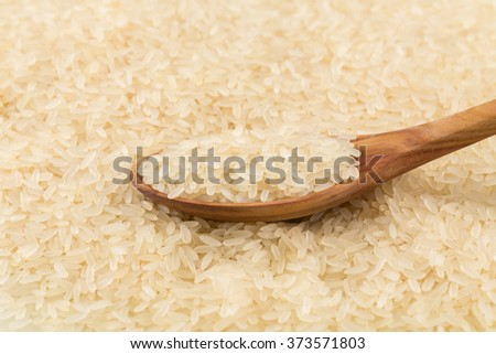 spoon of rice on puffed rice cereal background close up