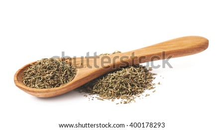 Spoon over the pile of thyme