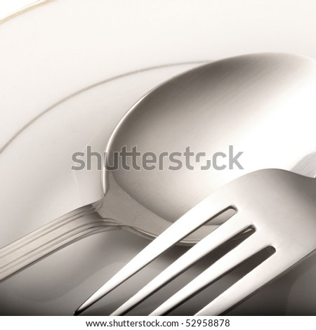 spoon plate fork - stock photo
