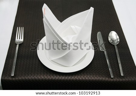 spoon set in restaurant