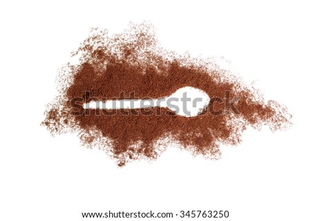 Spoon trace in ground coffee - stock photo