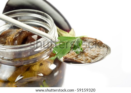 spoon with grilled eggplants preserved