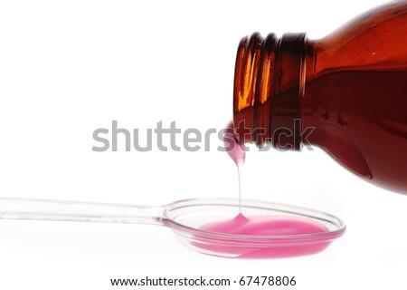 spoon with medecine close up - stock photo